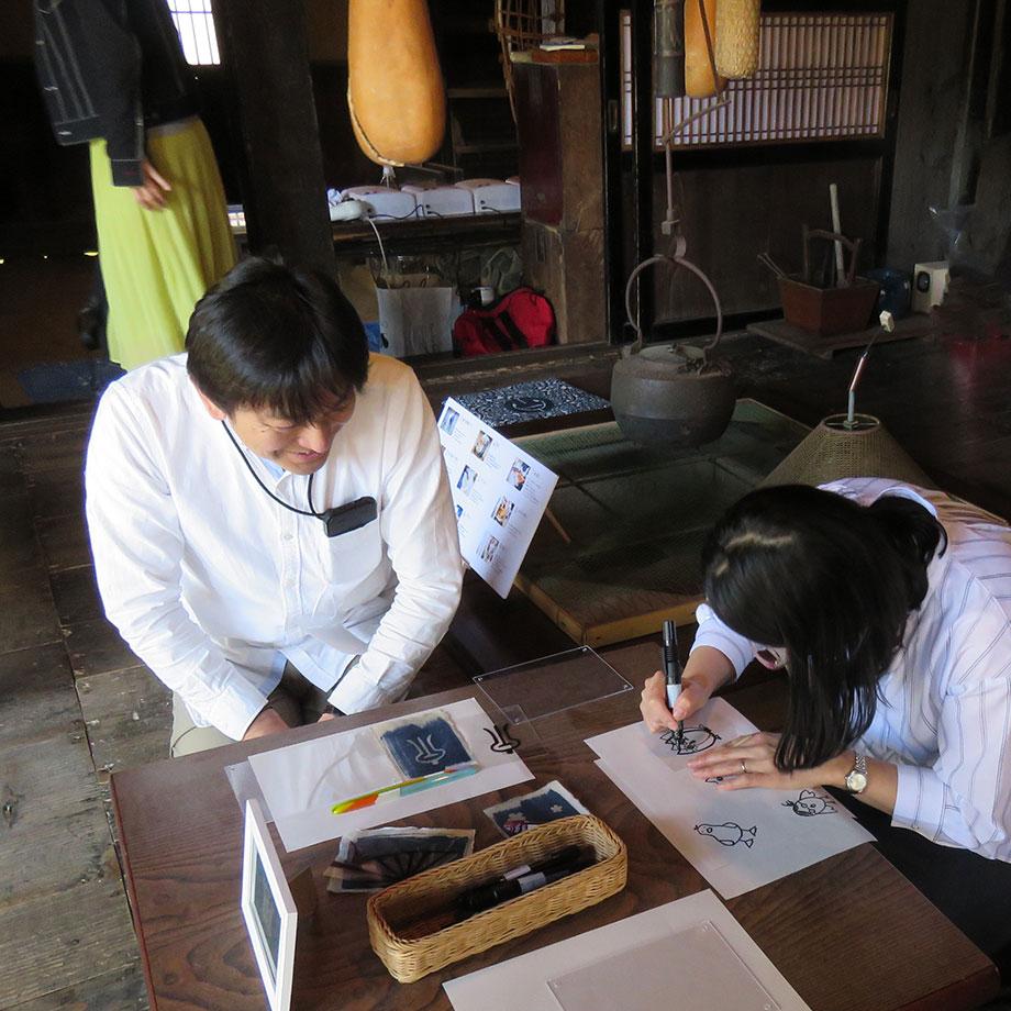 越後生紙手漉き和紙に写すオリジナル青写真