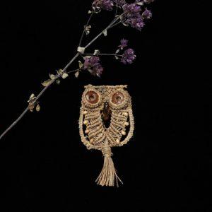 マクラメ編みアクセサリー フクロウ しな糸